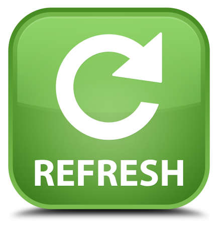 to rotate: Refresh (rotate arrow icon) soft green square button Stock Photo