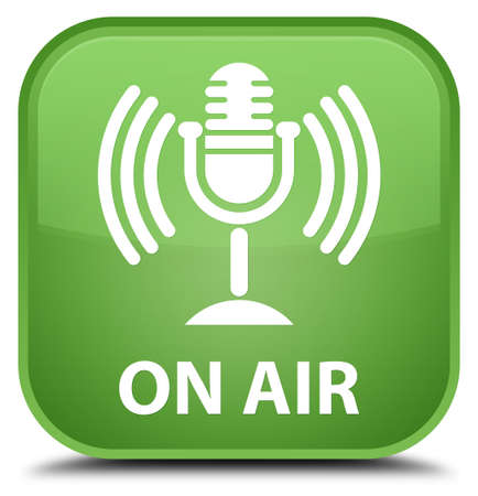 voices: On air (mic icon) soft green square button Stock Photo