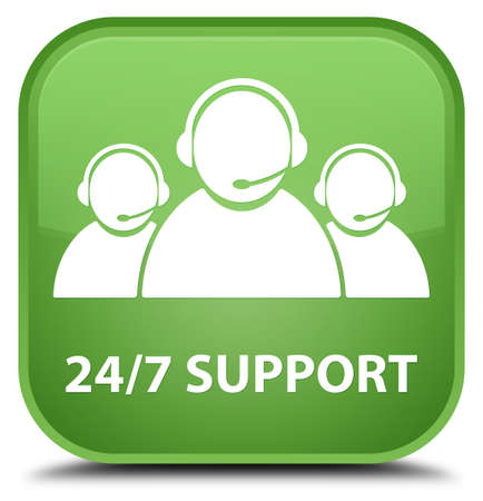 customer care: 247 Support (customer care team icon) soft green square button Stock Photo
