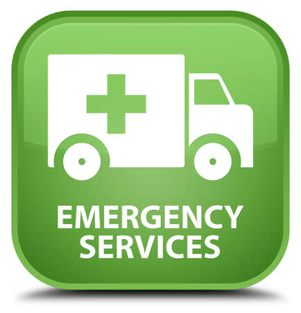 emergency services: Emergency services soft green square button