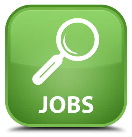 opportunity discovery: Jobs soft green square button Stock Photo