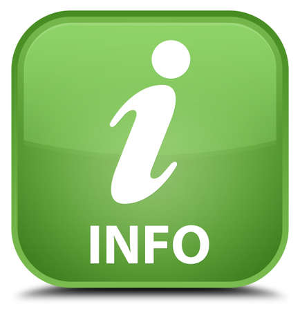 inform information: Info soft green square button Stock Photo