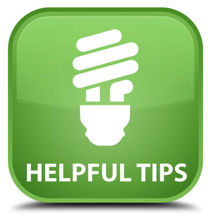 helpful: Helpful tips (bulb icon) soft green square button