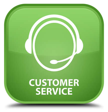 customer care: Customer service (customer care icon) soft green square button