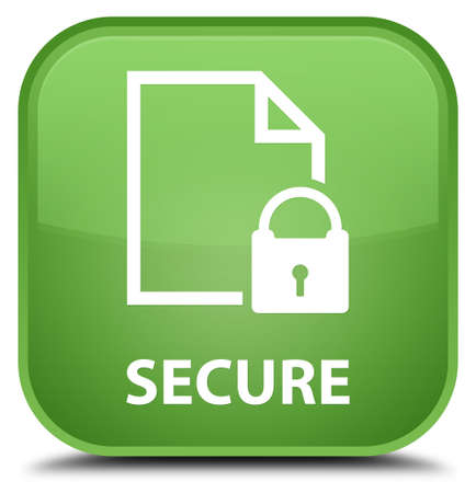 key hole shape: Secure (document page padlock icon) soft green square button