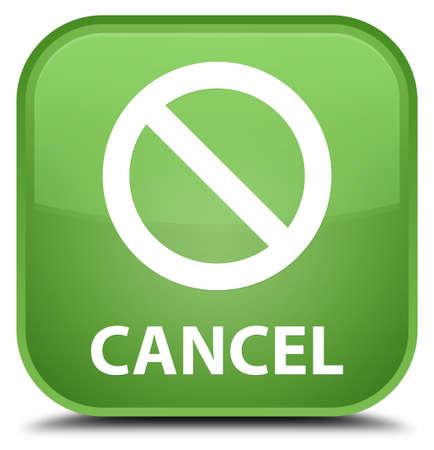 disagree: Cancel (prohibition sign icon) soft green square button