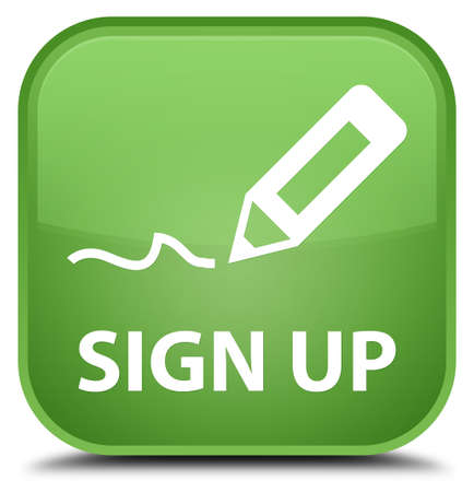 registry: Sign up soft green square button Stock Photo