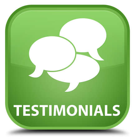 comments: Testimonials (comments icon) soft green square button Stock Photo