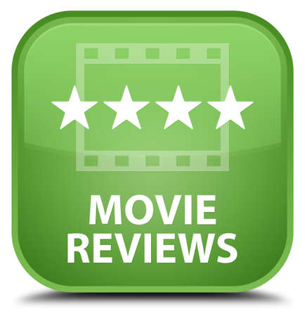 opinions: Movie reviews soft green square button Stock Photo