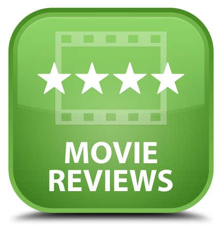 reviews: Movie reviews soft green square button Stock Photo