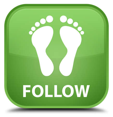 green footprint: Follow (footprint icon) soft green square button