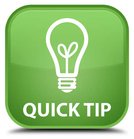 hints: Quick tip (bulb icon) soft green square button Stock Photo