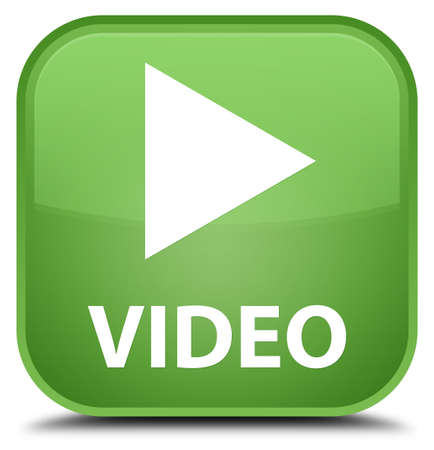 green button: Video soft green square button Stock Photo