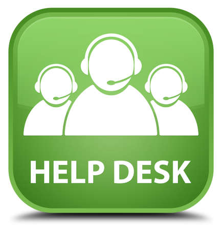 help desk: Help desk (customer care team icon) soft green square button