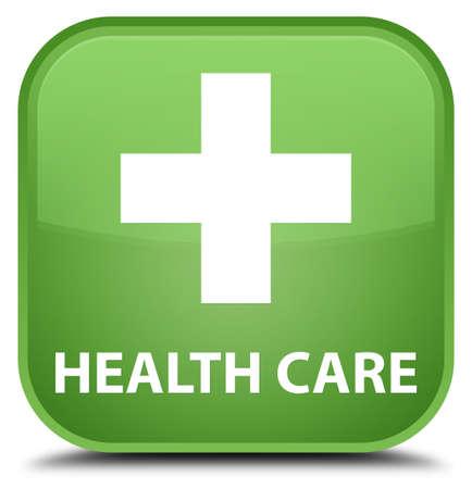 green plus: Health care (plus sign) soft green square button
