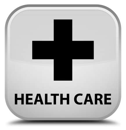 plus sign: Health care (plus sign) white square button Stock Photo