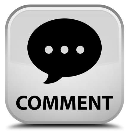 comment: Comment (conversation icon) white square button Stock Photo