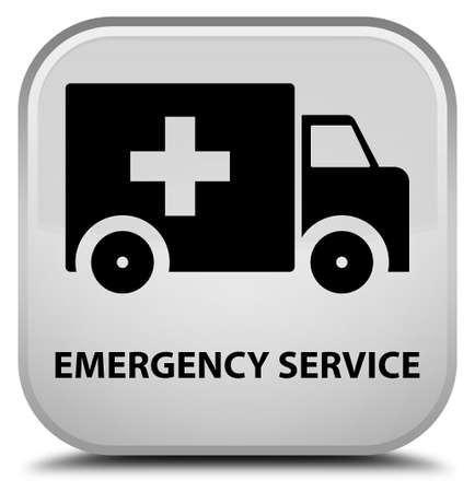 heathcare: Emergency service white square button