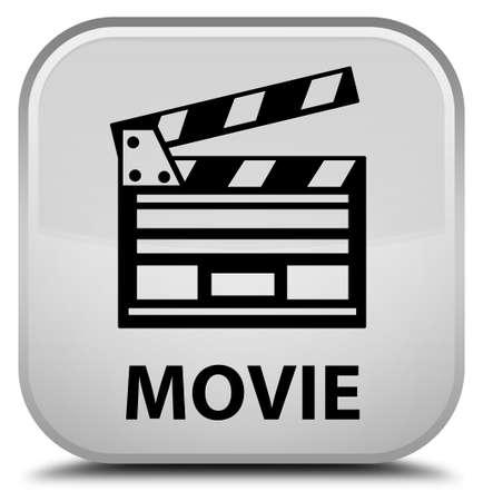 directors cut: Movie (cinema clip icon) white square button Stock Photo