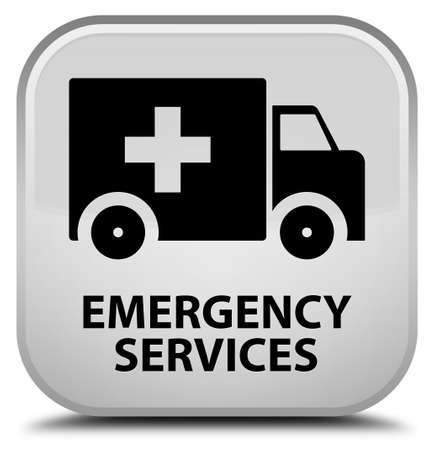 emergency services: Emergency services white square button