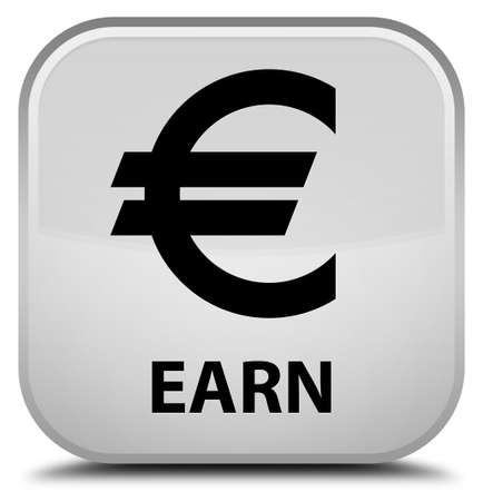 earn: Earn (euro sign) white square button