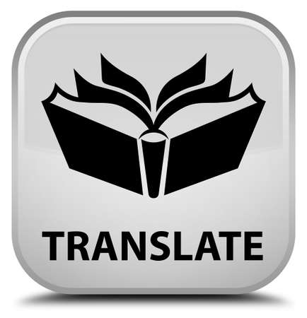 translate: Translate white square button Stock Photo