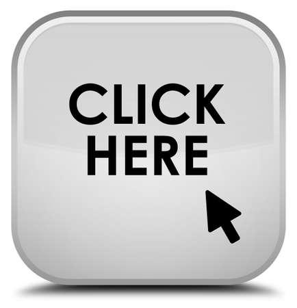 here: Click here white square button Stock Photo