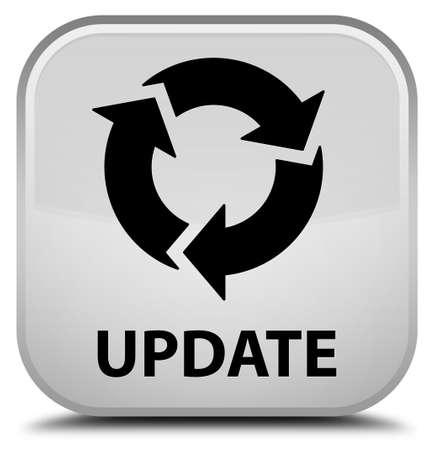 refresh: Update (refresh icon) white square button Stock Photo