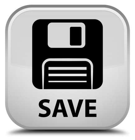 floppy: Save (floppy disk icon) white square button