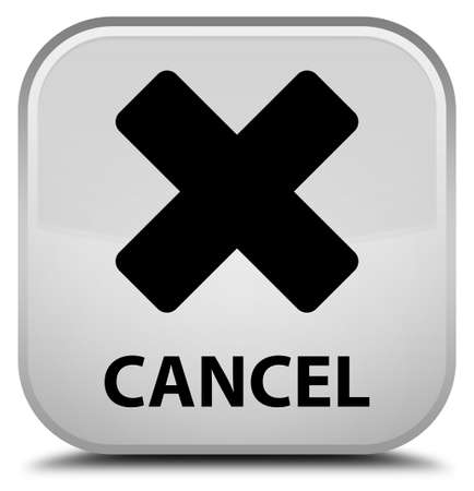abort: Cancel white square button Stock Photo
