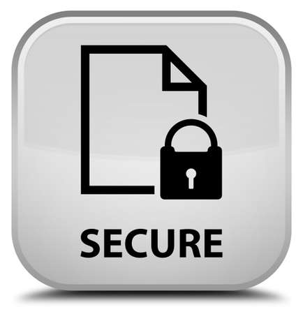 insecure: Secure (document page padlock icon) white square button Stock Photo