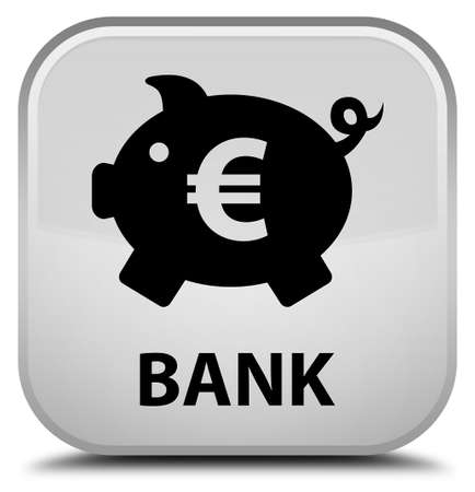 saving accounts: Bank (piggy box euro sign) white square button Stock Photo