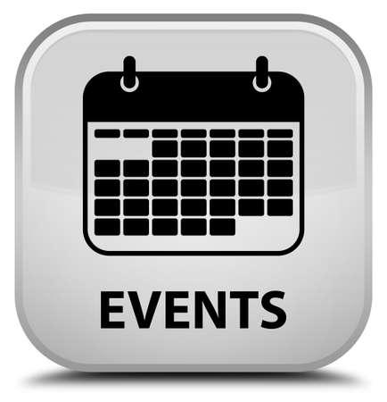 appointments: Events (calendar icon) white square button Stock Photo