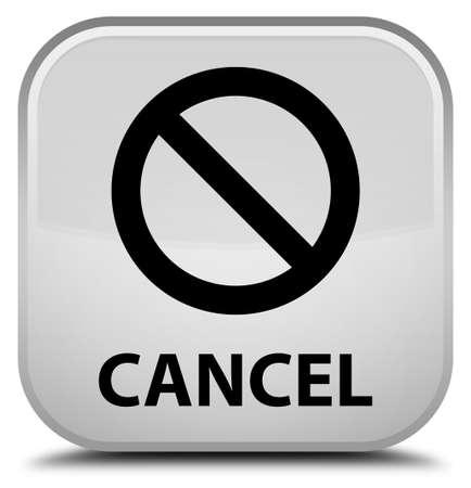 Cancel (prohibition sign icon) white square button Stock Photo