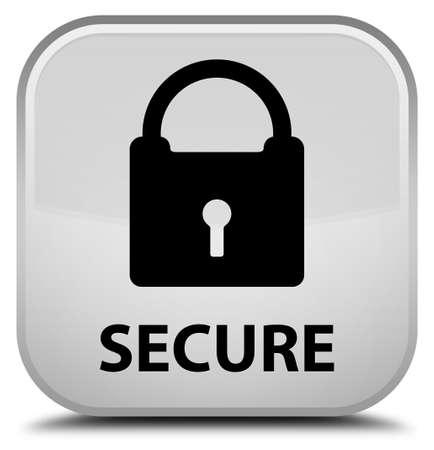 key hole shape: Secure (padlock icon) white square button Stock Photo