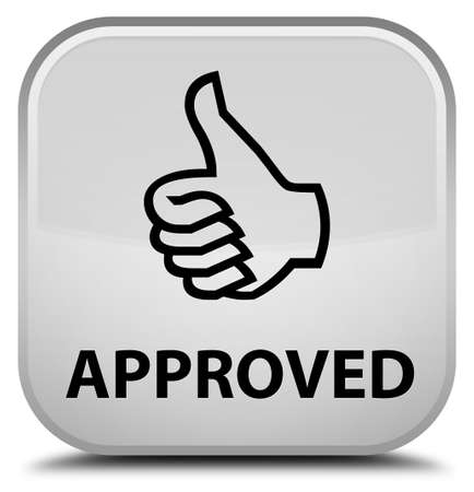 opinions: Approved (thumbs up icon) white square button Stock Photo