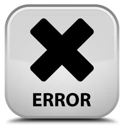 abort: Error (cancel icon) white square button Stock Photo