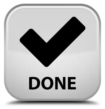 validate: Done (validate icon) white square button Stock Photo