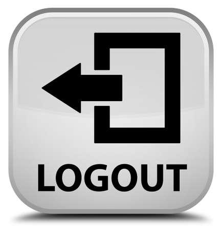 shut off: Logout white square button Stock Photo