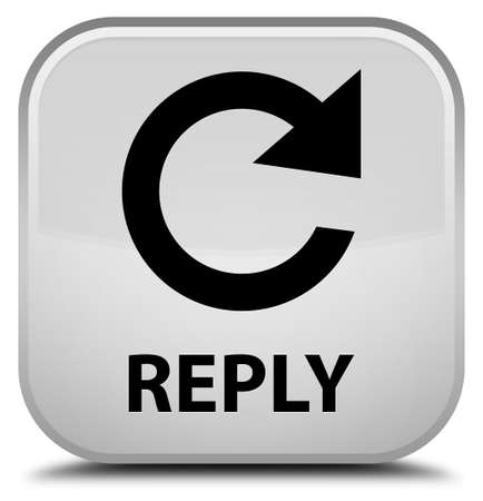 rotate: Reply (rotate arrow icon) white square button Stock Photo