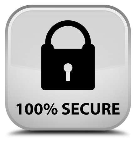 secure: 100% secure white square button Stock Photo