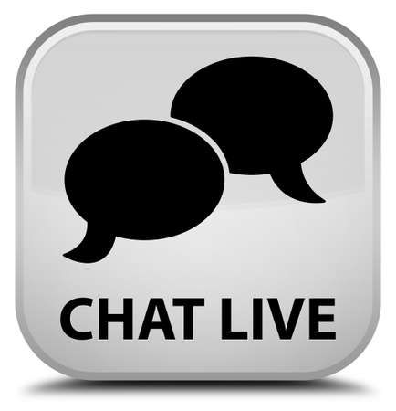 instant message: Chat live white square button Stock Photo