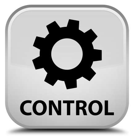 control tools: Control (settings icon) white square button Stock Photo