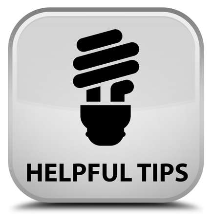 hints: Helpful tips (bulb icon) white square button Stock Photo