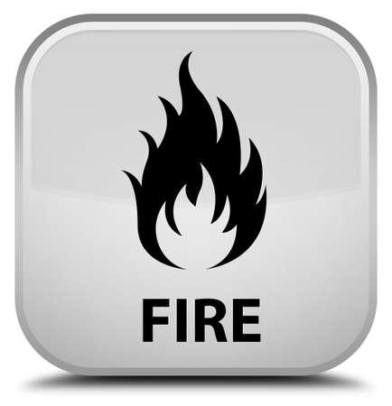 square button: Fire white square button Stock Photo