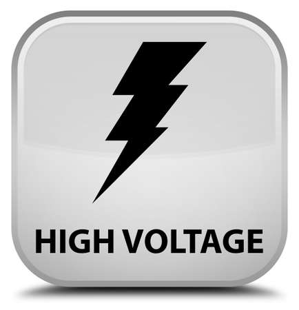 high voltage: High voltage (electricity icon) white square button Stock Photo