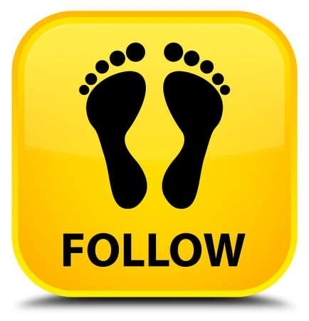 follow icon: Follow (footprint icon) yellow square button Stock Photo