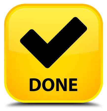 validate: Done (validate icon) yellow square button Stock Photo