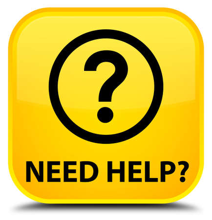 need help: Need help (question icon) yellow square button