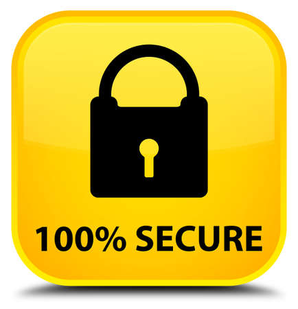 defend: 100% secure yellow square button Stock Photo